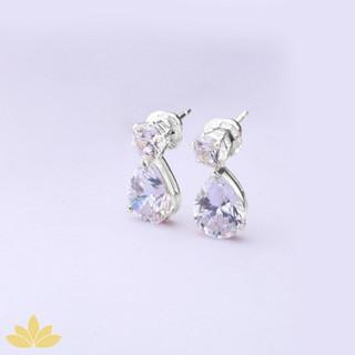 E015 - Silver Drop Solitaire Earring