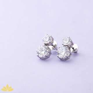 E014 - Round Two Stone Solitaire Earrings