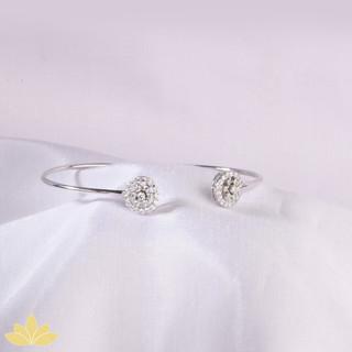 B021 - Silver Flower Design Stiff Bangle