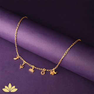 Gold Charm Necklace - India Inspired Cha