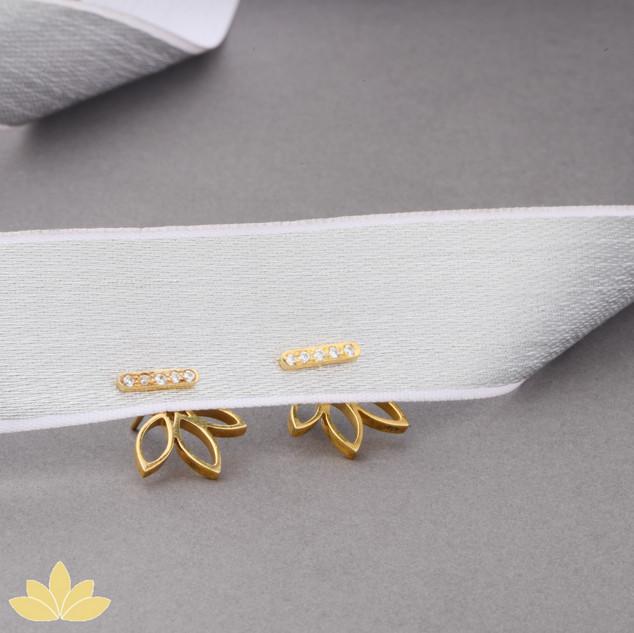 E004 - Gold Embellished Lotus Jacket Earrings