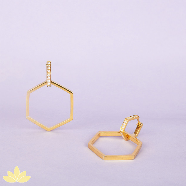 E045 - Gold Multi-Purpose Hexagon Statement Earrings