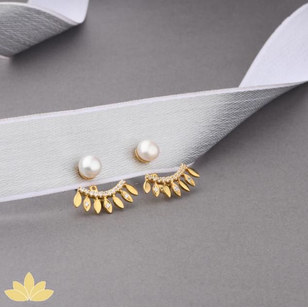 E005 - Gold Pearl Jacket Earrings