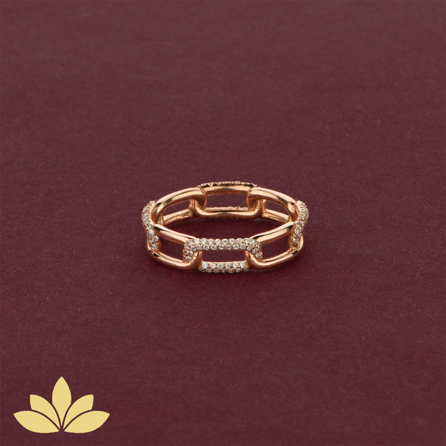 WR06 - Rose Gold Embellished Chain Ring
