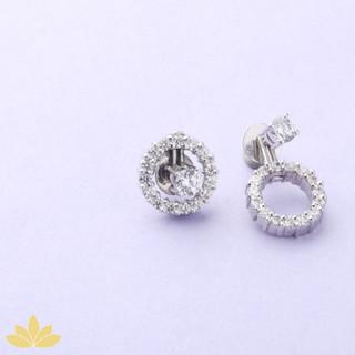 E027 - Silver Small Circle Jacket Earring