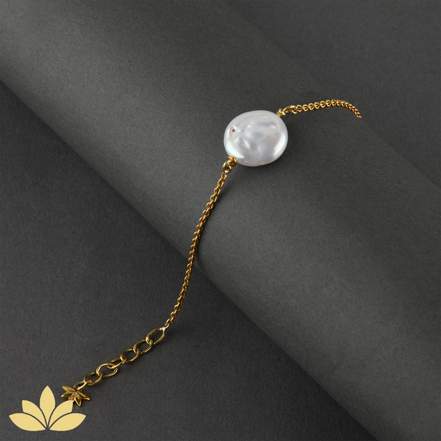 B035 - Baroque Pearl Bracelet with Gold Chain