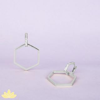 E045 - Silver Multi-Purpose Hexagon Statement Earrings