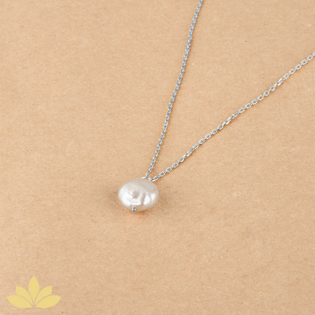 P015 - Baroque Pearl Pendant with Silver Chain