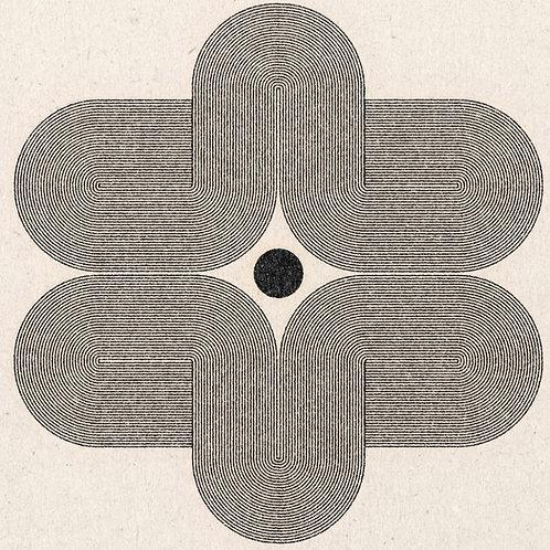 中心の円と幾重にも重なる線のアートプリント