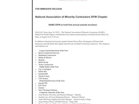 NAMC, M/WBE Nominated!