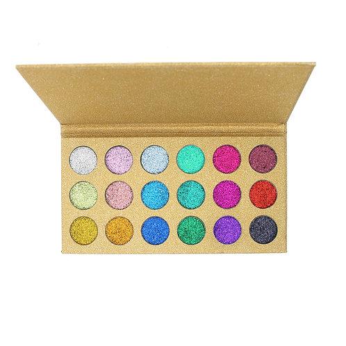 18 Color Diamond Glitter Pressed Powder Palette
