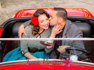 Los Angeles Wedding and Engagement Shoot Photography and Makeup and Hair, Complete with a Hot Rod!
