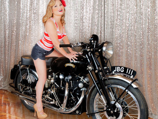 Motorcycle Pinup Photo Shoot Los Angeles With Vintage Motorcycle