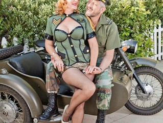 Los Angeles Pinup Engagement Photo Shoot with Motorcycle Sidecar!