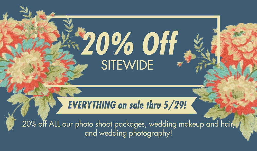 20% off shoot and make us services Sale good thru May 29TH . Buy now and bank it use thru  May 2018!