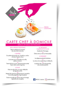 Carte menu traiteur