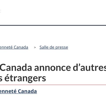 Le gouvernement du Canada annonce d'autres mesures pour soutenir les étudiants étrangers