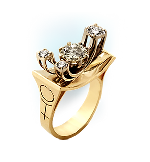 Exclusive gold ring with diamonds