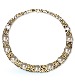 exclusive gold necklace, unique jewelry, necklace with pearls, aphrodite, handmade, jeweler Igor Orlov