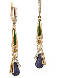 Irises, earrings, Australian opal, handmade, jeweler Igor Orlov, exclusive jewelry