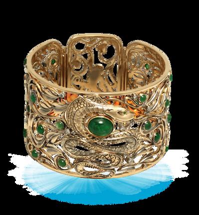 exclusive gold bracelet, unique jewelry, bracelet with emeralds, jungle, handmade, jeweler Igor Orlov