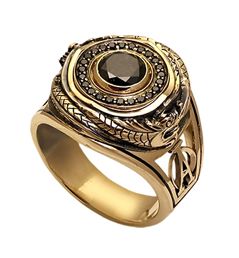 exclusive ring for men, ouroboros, black diamonds, unique jewelry, men's jewelry, handwork, engraving, gold ring for men, jeweler Igor Orlov