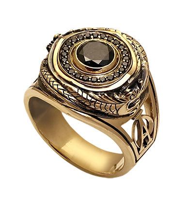 exclusive ring for men, ouroboros, black diamonds, unique jewelry, men's jewelry, handwork, engraving, gold ring for men, jeweler Igor Orlov