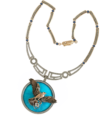 exclusive gold necklace, unique jewelry, a necklace with diamonds, hot enamel, handmade, jeweler Igor Orlov