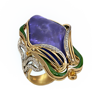 Exclusive gold ring with australian opal and diamonds
