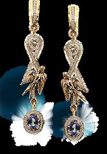 exclusive jewelry, unique jewelry, Heavenly Swallows, earrings, sapphires, diamonds, jeweler Igor Orlov, handmade