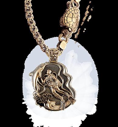 exclusive pendant, diving, unique jewelry, men's jewelry, handmade, engraving, gold pendant for men, jeweler Igor Orlov