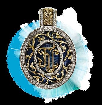 exclusive gold pendant, unique jewelry, heritage, diamonds, hot enamel, handmade, jeweler Igor Orlov