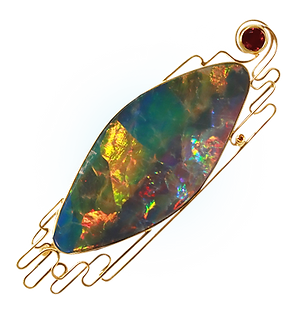 exclusive gold brooch, unique jewelry, tango, opal, handmade, jeweler Igor Orlov