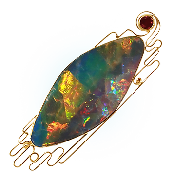 exclusive gold brooch, unique jewelry, tango, opal, handmade, jeweler Igor Orlov
