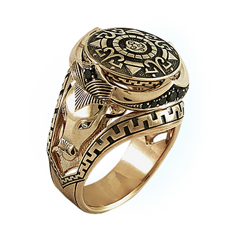 exclusive ring for men, amulet, unique jewelry, men's jewelry, handmade, engraving, gold ring for men, jeweler Igor Orlov