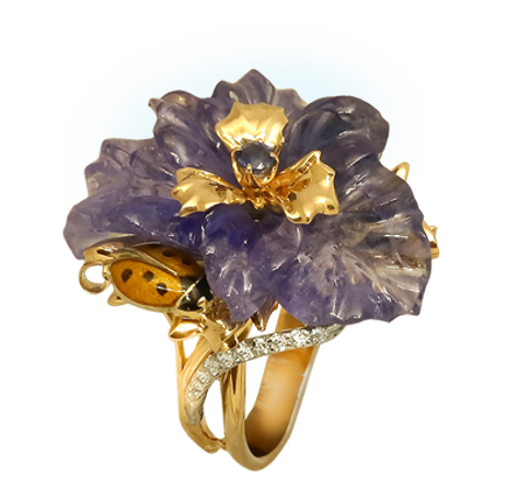 Exclusive gold ring with tanzanite