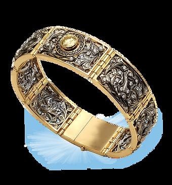exclusive gold bracelet, unique jewelry, bracelet with yellow diamond, moon night, handmade, jeweler Igor Orlov
