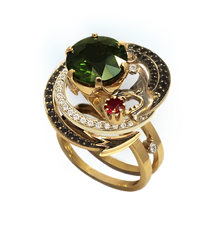 Exclusive gold ring with tourmaline, ruby and diamonds