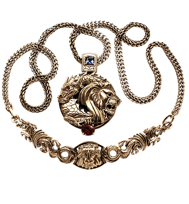 exclusive jewelry for men, unique jewelry, dance lion and dragon, sapphires, rubies, handwork, engraving, jeweler Igor Orlov