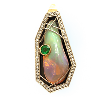 exclusive gold pendant, unique jewelry, forbidden desire, Ethiopian opal, diamonds, handmade, jeweler Igor Orlov