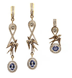 exclusive jewelery, unique jewelry, celestial swallows, pendant, earrings, sapphires, diamonds, jeweler Igor Orlov