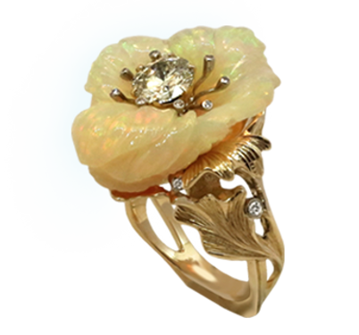 Exclusive gold ring with opal, jeweler Igor Orlov