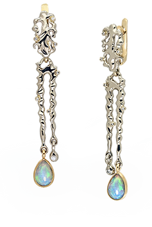 exclusive jewelery, earrings, unique jewelry, thaw, opals, diamonds, handmade, jeweler Igor Orlov