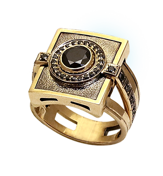 exclusive ring for men, feudal lord, black diamonds, unique jewelry, men's jewelry, handwork, engraving, gold ring for men, jeweler Igor Orlov