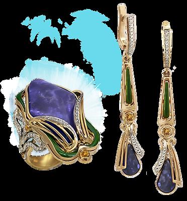 exclusive jewelery, unique jewelry, irises, Australian opals, handmade, jeweler Igor Orlov