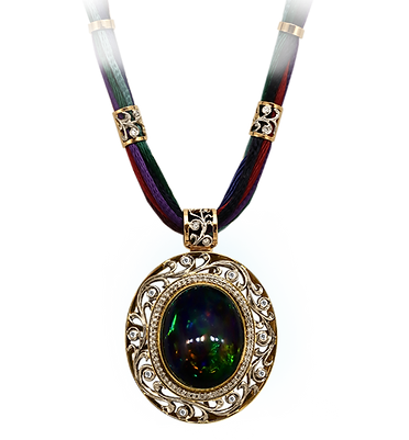 exclusive gold necklace, unique jewelry, shaherezada, black opal, diamonds, handmade, jeweler Igor Orlov