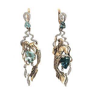 exclusive earrings, unique jewelry, kingdom of poseidon, aquamarines, diamonds, handmade, jeweler Igor Orlov