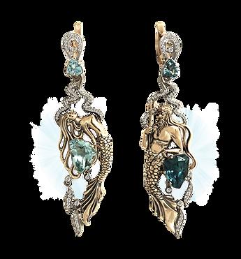 exclusive earrings, unique jewelry, kingdom of poseidon, aquamarines, diamonds, handmade, jeweler Igor Orlov