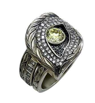 exclusive ring for men, wolf, yellow diamond, diamonds, unique jewelry, men's jewelry, handmade, engraving, gold ring for men, jeweler Igor Orlov