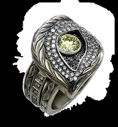 exclusive ring for men, wolf, yellow diamond, diamonds, unique jewelry, men's jewelry, handmade, engraving, gold ring for men, jeweler Igor Orlov